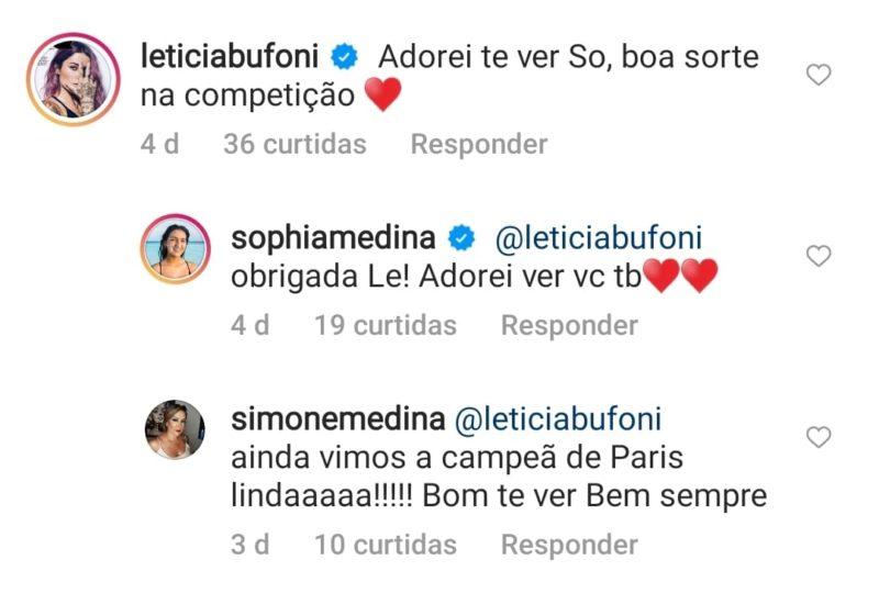 Letícia Bufoni exibiu intimidade com a mãe e irmã de Gabriel Medina em comentário nas redes sociais – Foto: Reprodução Internet