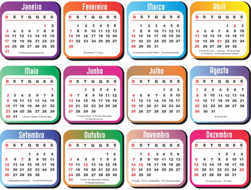 O calendário prevê a oportunidade de quatro feriadões nos três próximos meses. – Foto: Divulgação