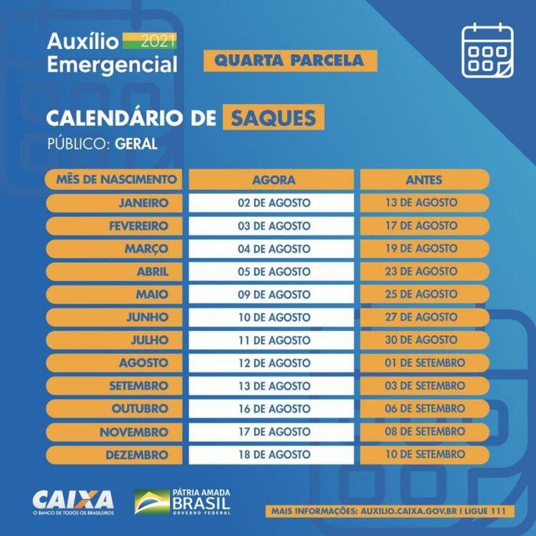Calendário com as datas de saque do auxílio emergencial – Foto: Divulgação/Caixa/ND