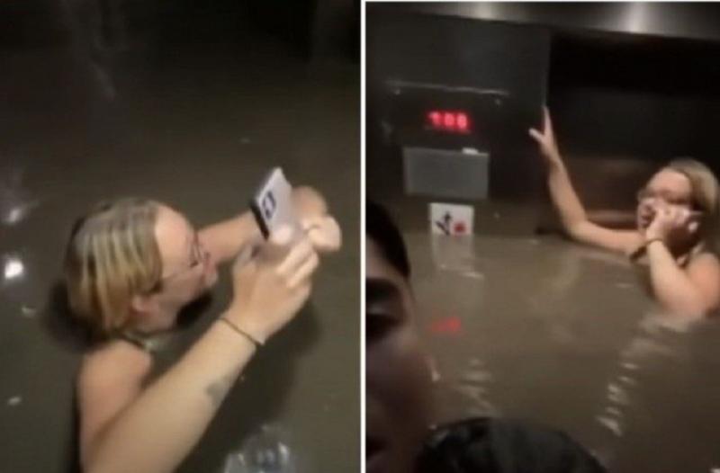 Vídeo mostra o drama dos moradores presos no elevador alagado – Foto: Reprodução