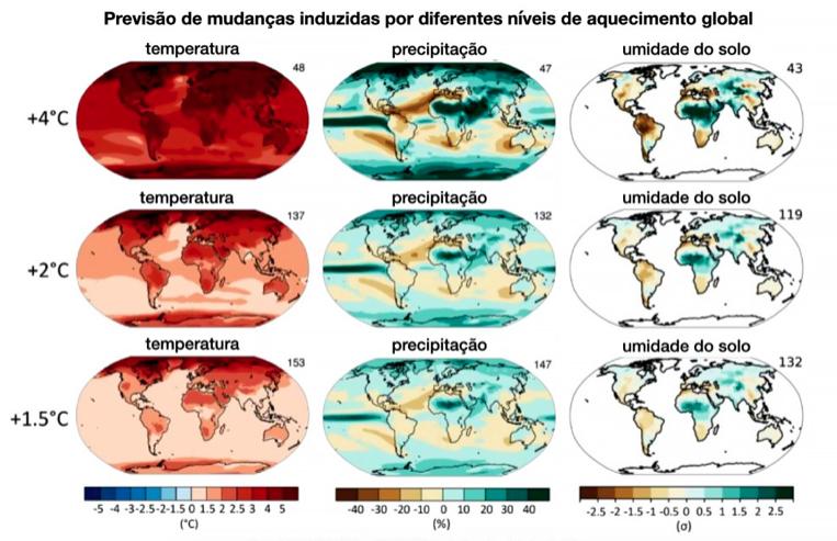 Amostragem das previsões, ao longo dos anos, e as consequências da ação humana nas mudanças climáticas – Foto: IPCC/divulgação