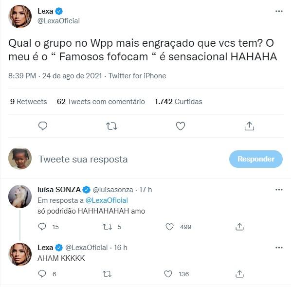 Luísa Sonsa e Lexa afirmaram que participam de grupo com celebridades para fofocar – Foto: Reprodução Internet