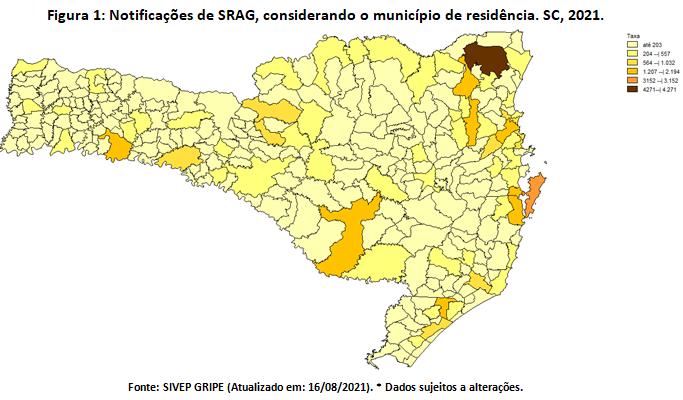Casos de SRAG por cidade em Sc – Foto: Dive/Reprodução