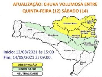 Alerta de chuva volumosa – Foto: Defesa Civil de SC/Divulgação/ND