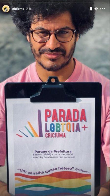 Criolo divulgou a Parada LGBTQIA+ que deve ocorrer neste sábado em Criciúma. – Foto: Reprodução/Internet