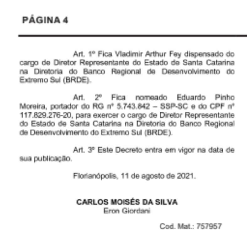 Nomeação de Eduardo Moreira para o BRDE saiu nesta quarta-feira – Foto: Reprodução/Diário Oficial/SC