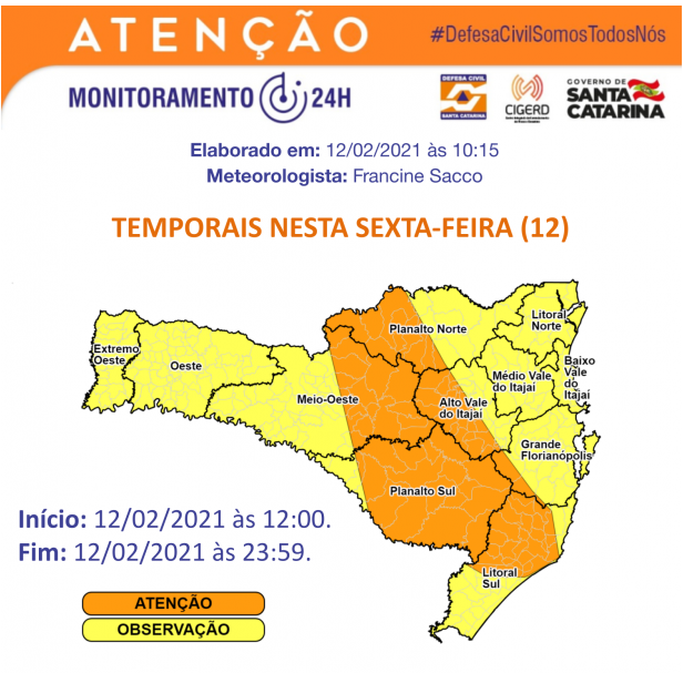 Santa Catarina tem alerta para baixa umidade nesta semana – Foto: Defesa Civil/Divulgação/ND