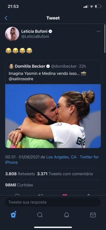 Skatista riu ao compartilhar twitter com piada entre Yasmin e Medina – Foto: Reprodução Twitter/Divulgação