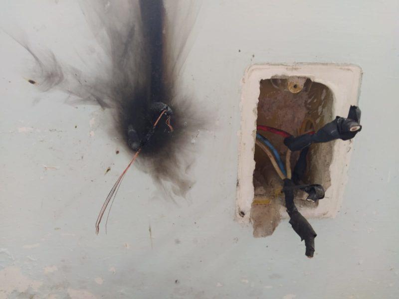 Fogo começou na fiação elétrica