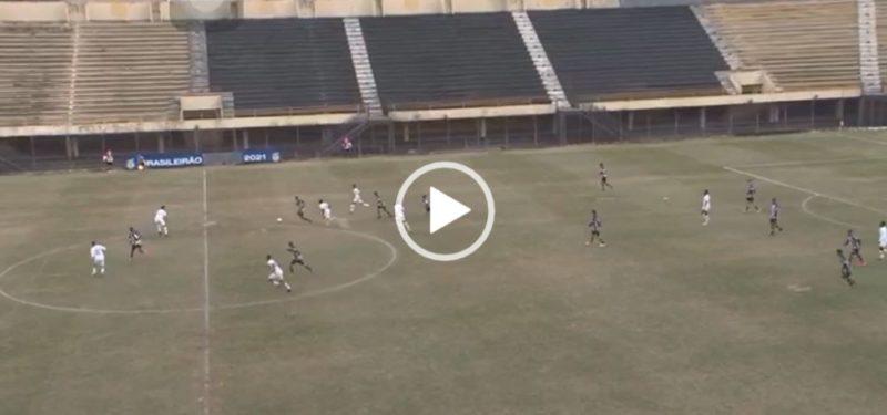 Natan faz um golaço em partida contra o Santos no Campeonato Brasileiro de Aspirantes – Foto: Eleven Sports/Reprodução/ND