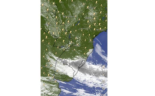Mapa de satélite mostra pontos de focos de incêndio no Sul do Brasil