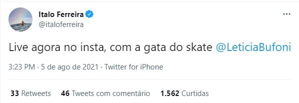 Ítalo Ferreira anuncia live com a skatista Letícia Bufoni – Foto: italo