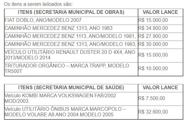 Bens somam R$ 157 mil conforme lance inicial – Foto: Prefeitura/Divulgação