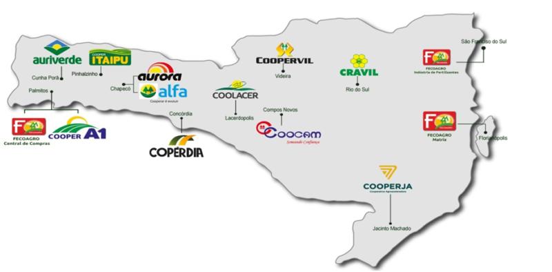 Área de atuação da Fecoagro em Santa Catarina – Foto: Fecoagro/Divulgação