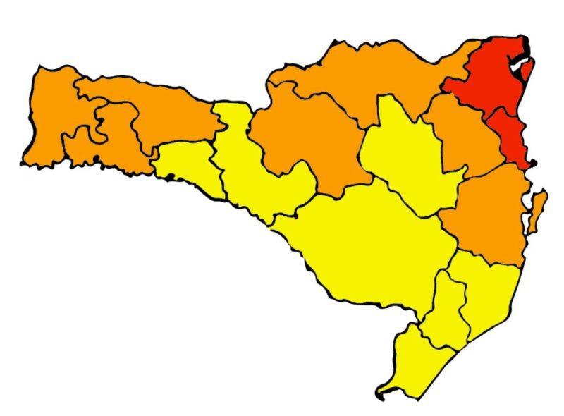 Nova atualização do mapa de risco potencial para a Covid-19 em SC mostra apenas duas regiões em nível gravíssimo – Foto: Divulgação/SES SC