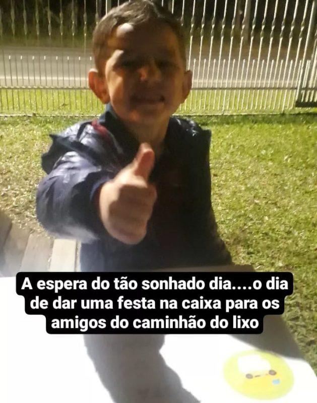 Garotinho Miguel comemorou quatro anos com homenagem aos catadores de lixo. – Foto: Álbum da família.
