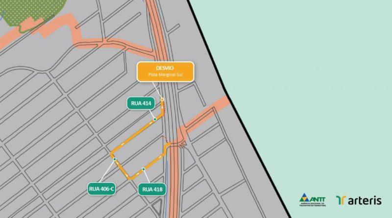 Trânsito na Marginal da BR-101 em Itapema será alterado a partir desta sexta-feira (13) – Foto: Arteris Litoral Sul/Divulgação