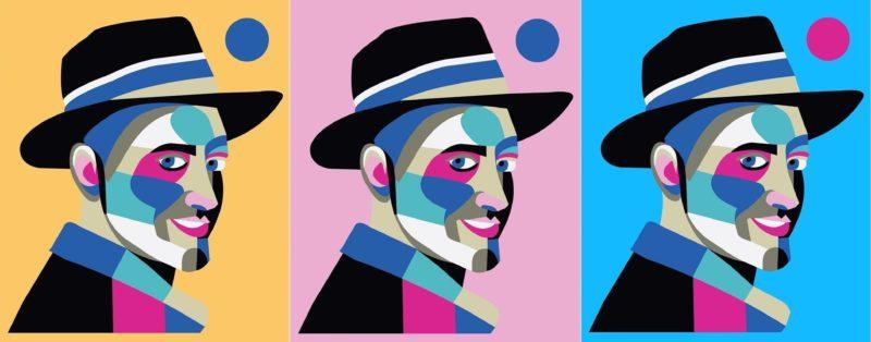 Três versões da ilustração digital que Thipan criou em homenagem ao ator e comediante Paulo Gustavo, niteroiense como ele – Foto: Thiago Thipan/Divulgação/ND