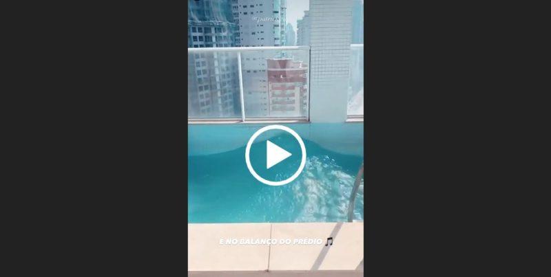 Vento balança prédio e cria ondas artificias em piscina de triplex em Balneário Camboriú – Foto: Reprodução/Internet