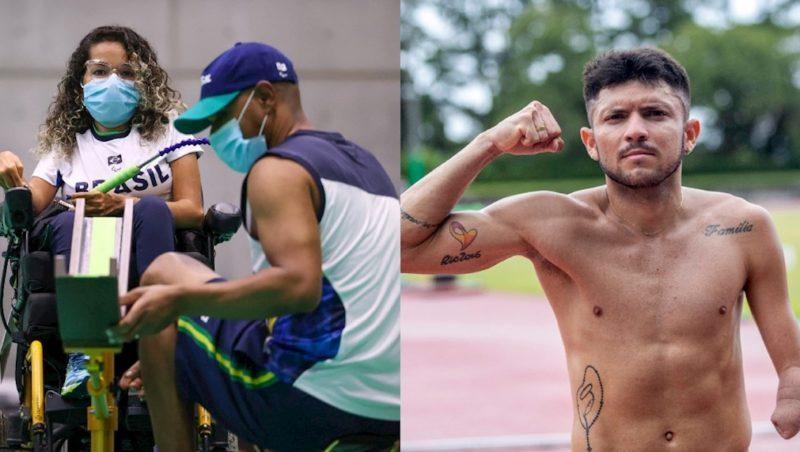 Evelyn Oliveira aparece sendo auxiliada pelo treinador e Petrúcio Ferreira do lado direto sem camisa onde é possível ver algumas tatuagens