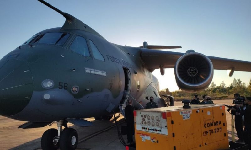Aeronave KC-390 Millennium, da Força Aérea Brasileira (FAB), que integra a Missão Humanitária Multidisciplinar do Brasil – Foto: TV Brasil