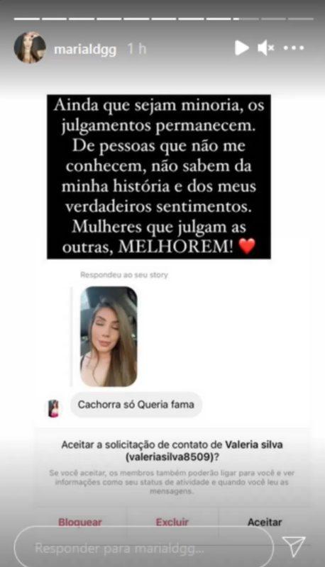 Maria Lina compartilha ataque que recebeu na web após fim de noivado – Foto: Internet/Divulgação/ND
