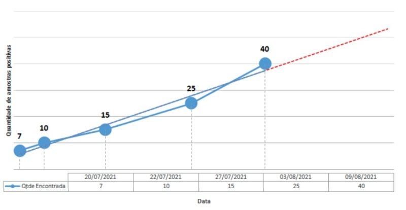 Proporção de casos detectados como provável Delta ao longo do período de testes por RT-qPCR para Variantes de Preocupação – Foto: SES/Divulgação/ND