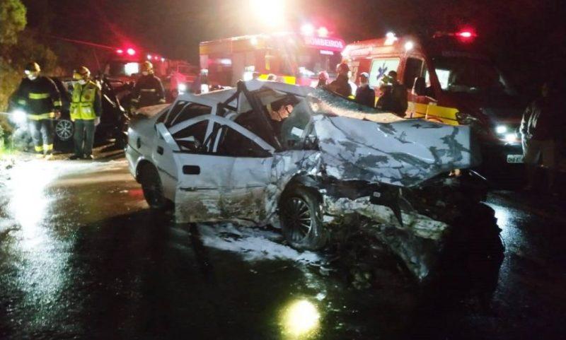 Acidente foi registrado no início da noite desta quarta-feira – Foto: Corpo de Bombeiros/Concórdia/divulgação
