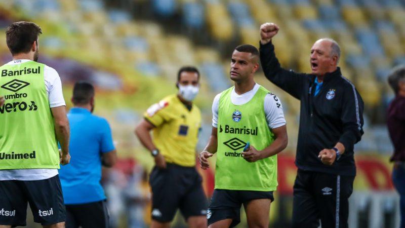 Felipão comemora o gol de Borja e o aumento da confiança do time. - Foto: Lucas Uebel/Grêmio FBPA