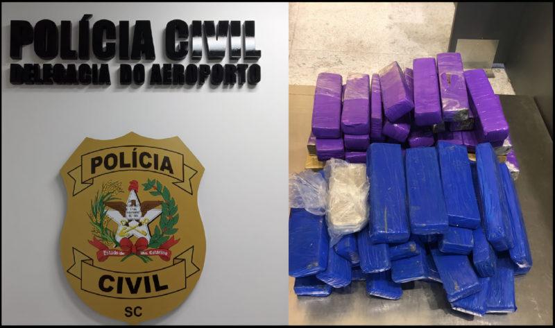 Duas mulheres foram presas portando 42 quilos de substâncias semelhantes à maconha no Aeroporto de Florianópolis – Foto: Divulgação/ Polícia Civil/ ND