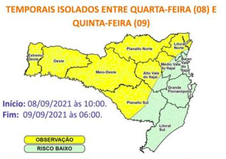 Ciclone extratropical traz alerta para Santa Catarina nesta quarta-feira (8) – Foto: Defesa Civil/Divulgação/ND