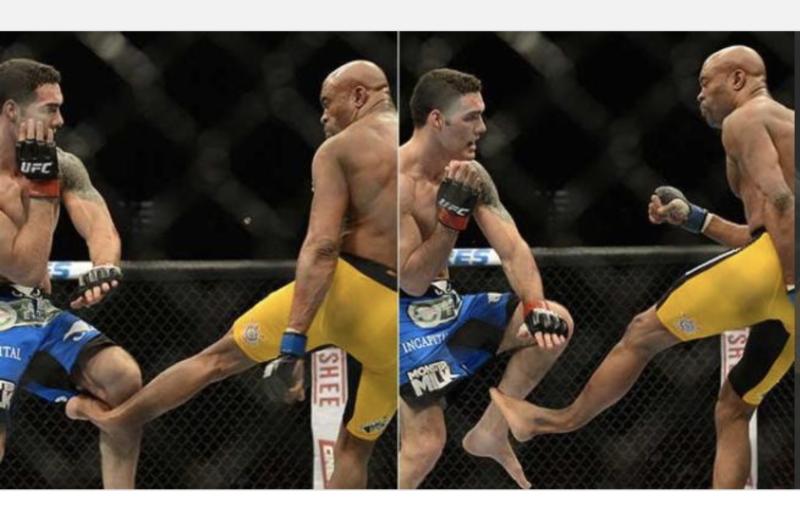 Anderson Silva lutava pelo cinturão dos médios contra Chris Weidman, quando sofreu fratura após um chute – Foto: Reprodução