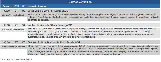 Súmula da partida entre Botafogo-SP e Figueirense – Foto: CBF/divulgação
