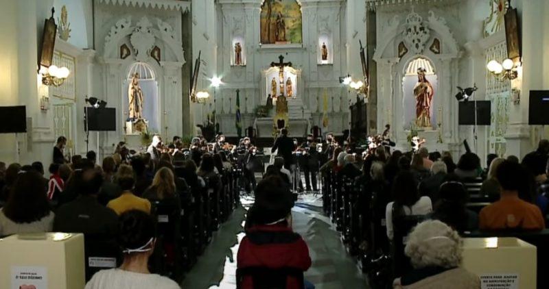 Camerata Florianópolis realizou concerto na Catedral Metropolitana, na Capital – Foto: Reprodução/NDTV RecordTV