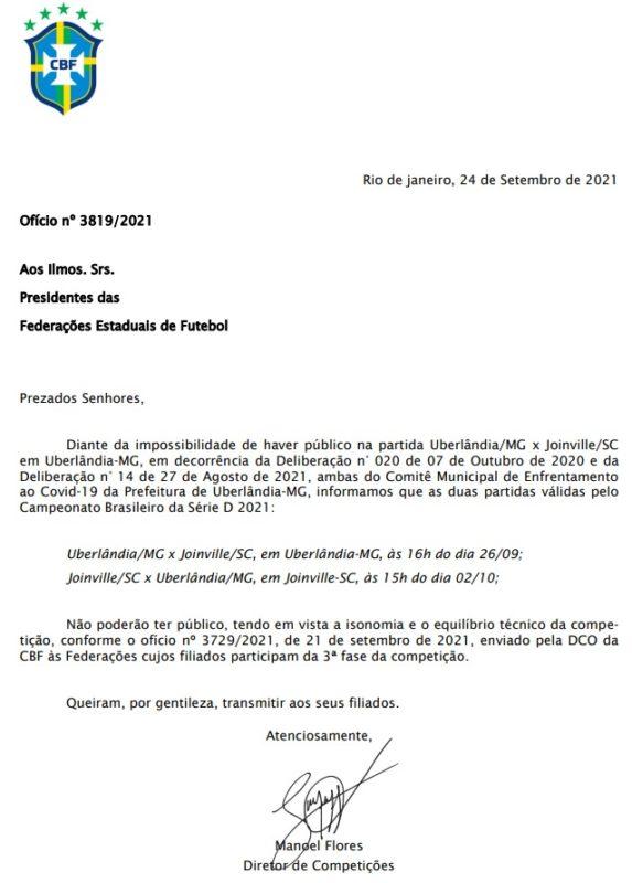 Ofício da CBF foi publicado no início da noite de sexta-feira (24) – Foto: Reprodução/Divulgação