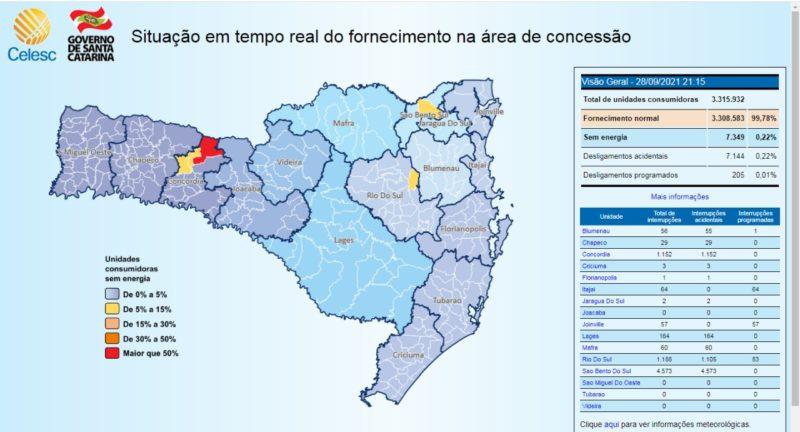 Em Santa Catarina, 0,22% da população que recebe fornecimento de energia pela CELESC, está sem luz – Foto: CELESC/Divulgação/ND