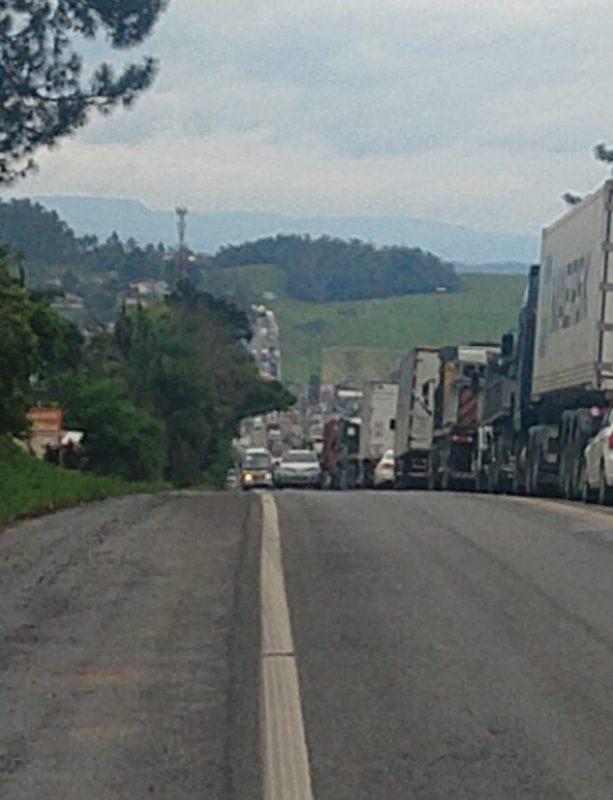 Corte de árvores e remoção de caminhão acidentado provocam congestionamento na BR-470 no Alto Vale do Itajaí – Foto: Reprodução /Internet
