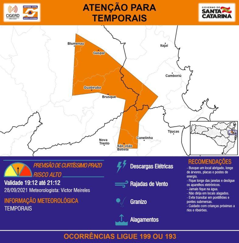 Defesa Civil alerta também para riscos de granizo e alagamentos na região – Foto: Defesa Civil/Divulgação/ND