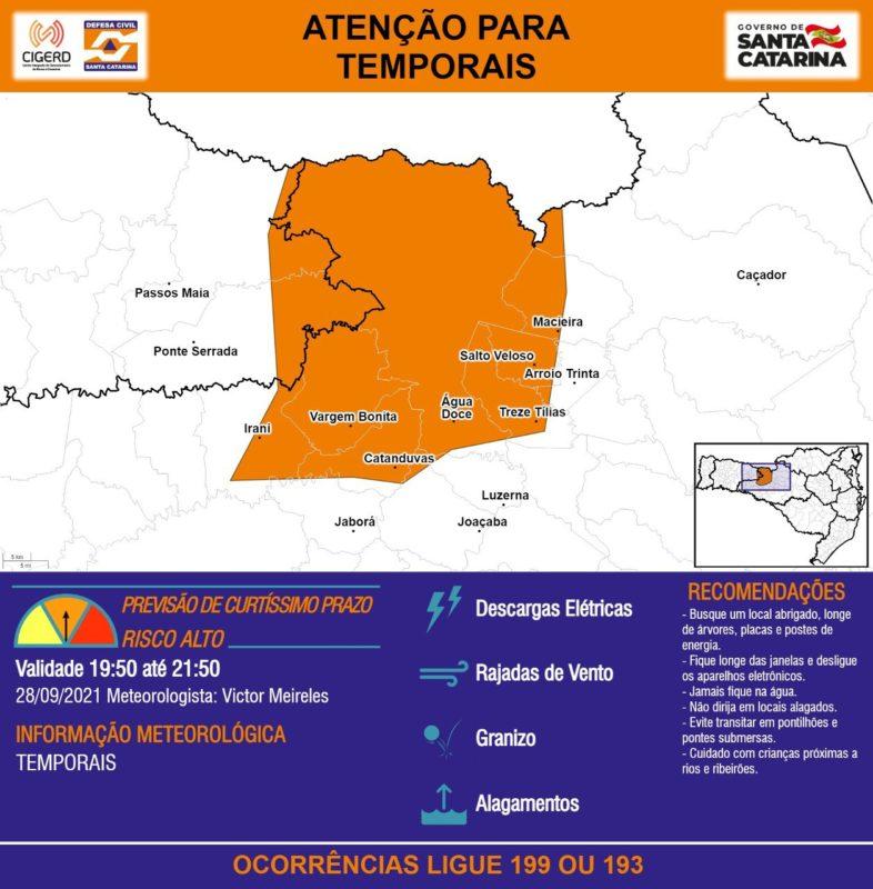 Municípios em alerta laranja devem tomar cuidado com as más condições do tempo – Foto: Defesa Civil/Divulgação/ND