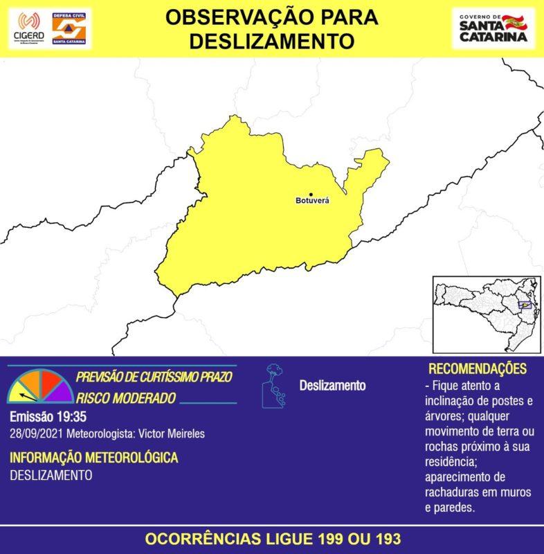 Defesa Civil alerta para deslizamento na região em amarelo do mapa, especialmente em Botuverá – Foto: Defesa Civil/Divulgação/ND