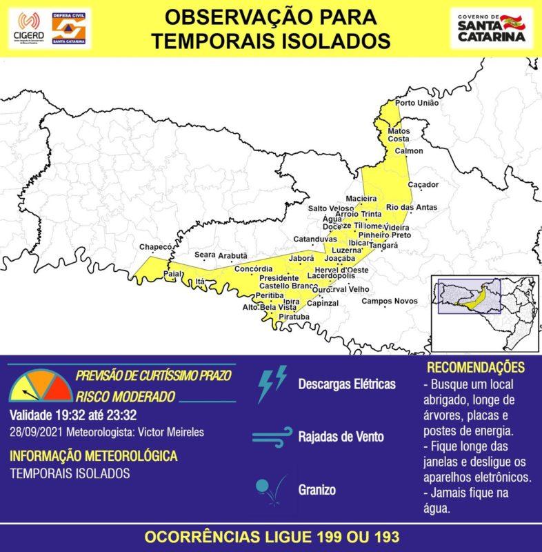 Municípios em amarelo no mapa devem ficar atentos para os temporais associados às descargas elétricas – Foto: Defesa Civil/Divulgação/ND