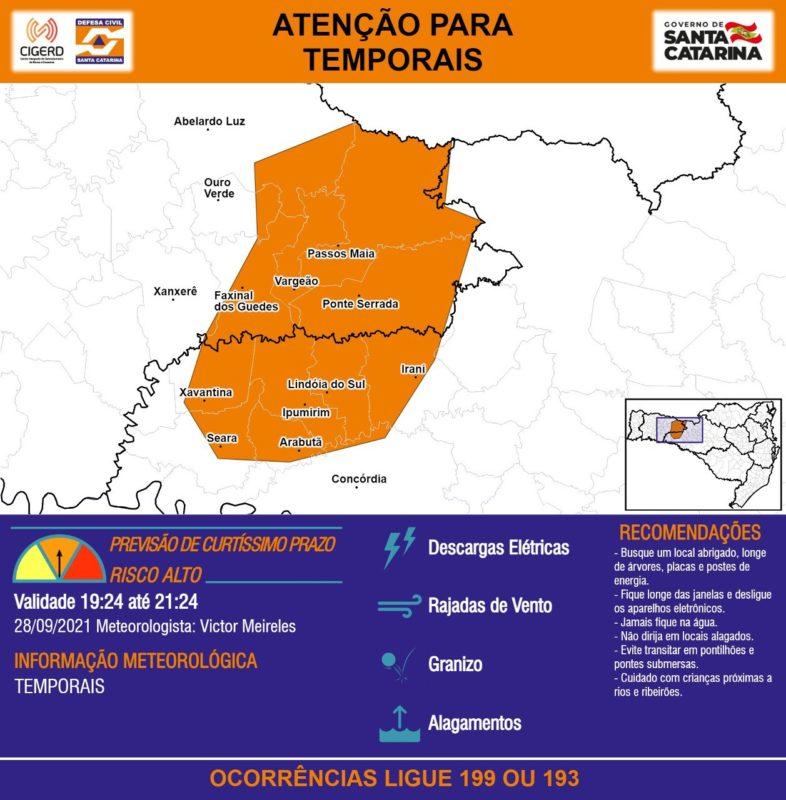 Municípios do Meio-Oeste catarinense também devem tomar cuidado com os temporais – Foto: Defesa Civil/Divulgação/ND