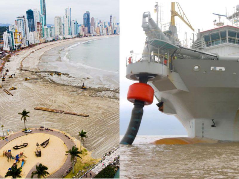 Após finalizar molhe da Barra Sul, draga vai ao Paraná abastecer – Foto: Secom BC