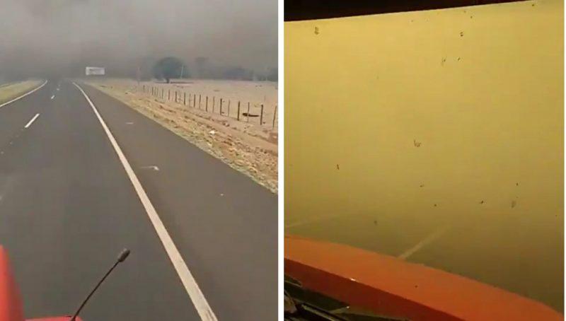 Rodovia em MG tomada por fumaça
