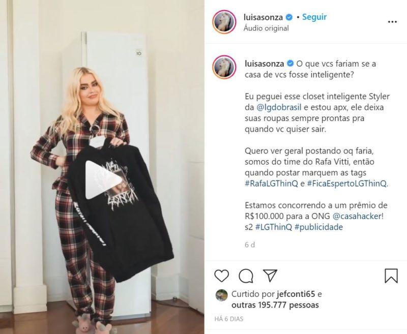 A cantora Luisa Sonza apostou no conforto de uma marca catarinense de pijamas para produzir conteúdo em seus perfis oficias na internet – Foto: Reprodução/Internet