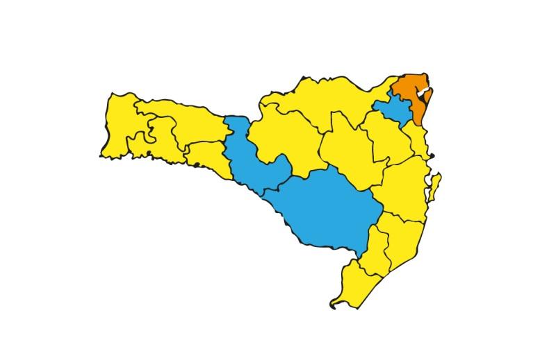 Mapa de risco de SC tem 3 regiões em azul – Foto: SES/Divulgação
