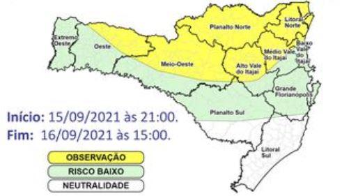 SC tem áreas com risco de ocorrências devido a chuva intensa e volumosa – Foto: Reprodução/Defesa Civil