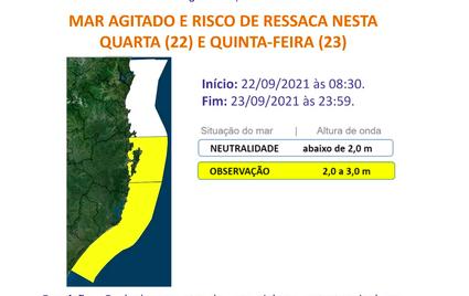 Mar agitado e risco de ressaca nesta quarta (22) – Foto: Defesa Civil/Divulgação/ND