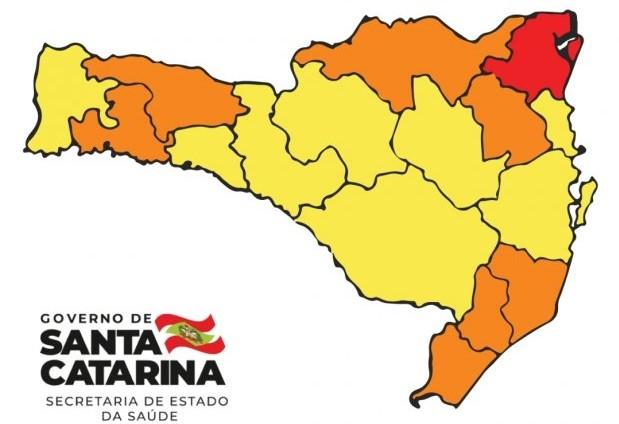 Mapa de risco divulgado no último sábado (11) – Foto: Governo de Santa Catarina/Divulgação/ND