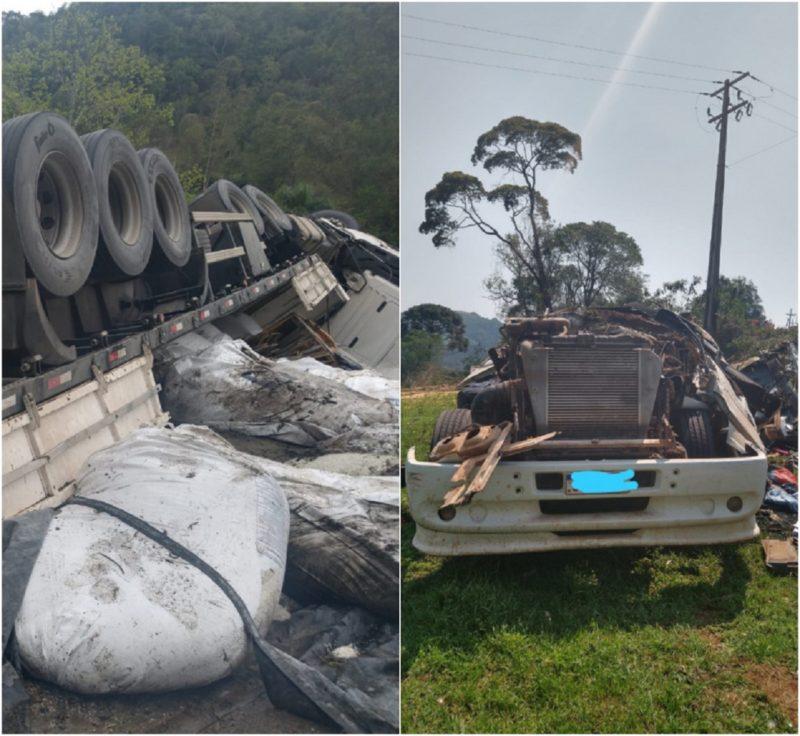 Santa Catarina registrou dois acidentes graves com caminhão na manhã desta segunda-feira (20) – Foto: Montagem/Divulgação/PMRv/ND